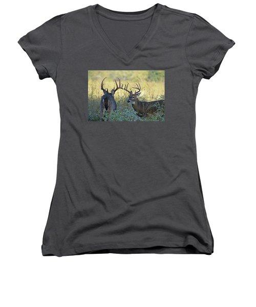 Whitetail Standoff Women's V-Neck T-Shirt (Junior Cut) by TnBackroadsPhotos