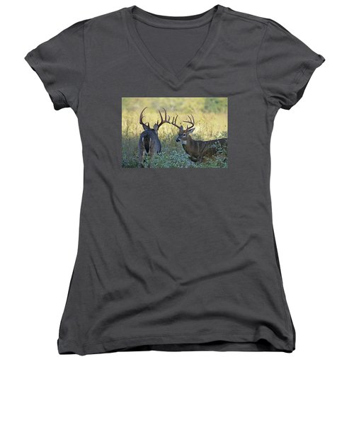 Whitetail Standoff Women's V-Neck (Athletic Fit)