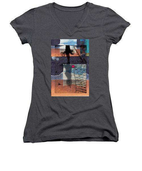 Women's V-Neck T-Shirt (Junior Cut) featuring the photograph Who Doesn't Stop Till Dawn by Danica Radman