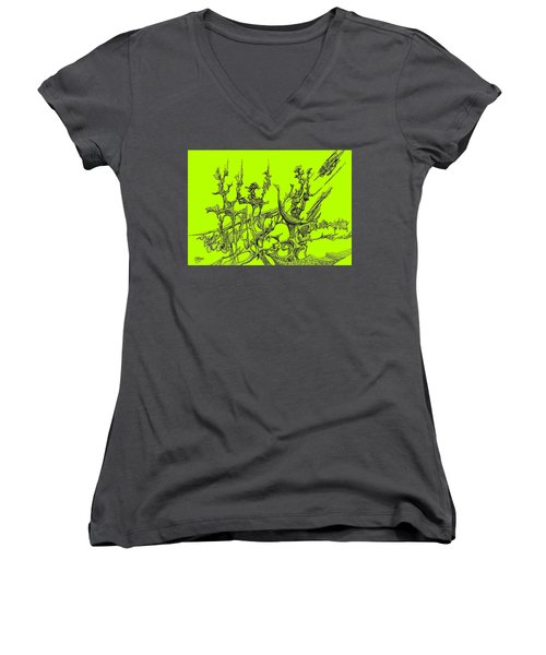 Whooshh -  Lime Background Women's V-Neck T-Shirt (Junior Cut) by Charles Cater