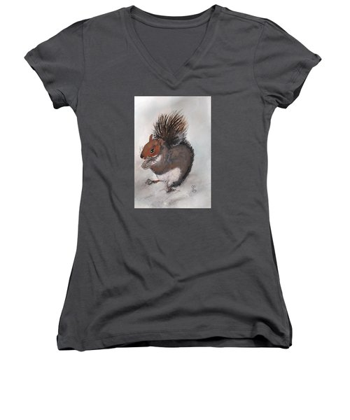 Who's Had Me Nuts Women's V-Neck T-Shirt (Junior Cut) by Carole Robins