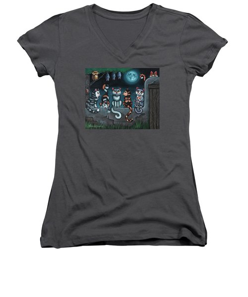 Whos Your Daddy Cat Painting Women's V-Neck