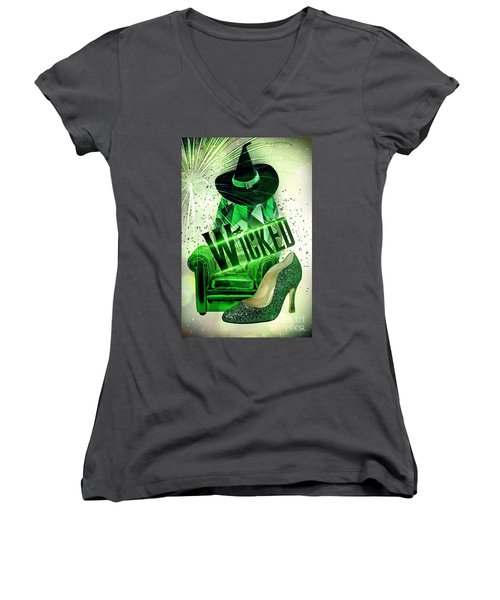 Wicked Women's V-Neck T-Shirt (Junior Cut) by Mo T