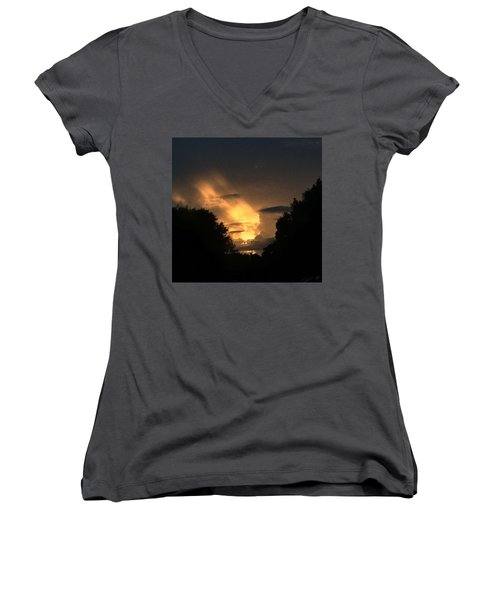Wicked Sky Women's V-Neck T-Shirt (Junior Cut) by Audrey Robillard