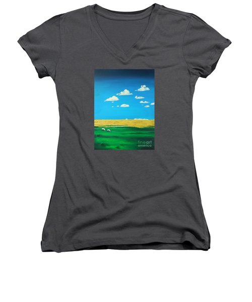 Wide Open Spaces And A Big Blue Sky Women's V-Neck T-Shirt