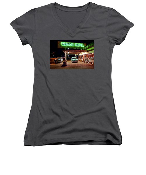 Women's V-Neck T-Shirt (Junior Cut) featuring the photograph Wigwam Motel by Jason Abando