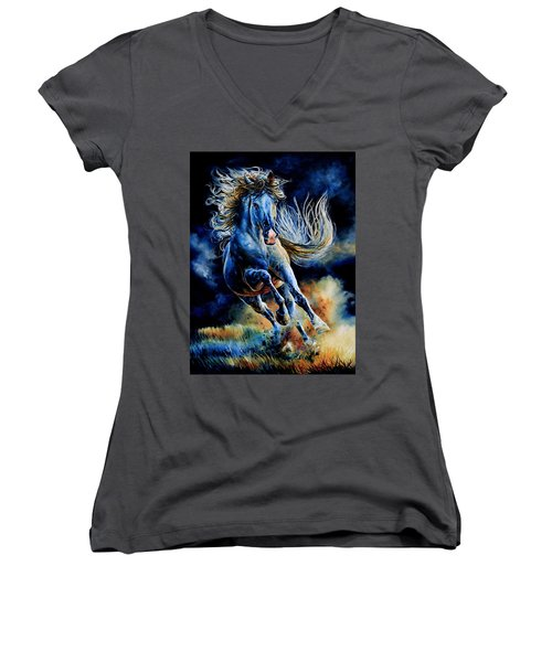Women's V-Neck T-Shirt featuring the painting Wild And Free by Hanne Lore Koehler