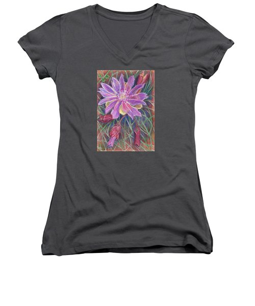 Women's V-Neck T-Shirt (Junior Cut) featuring the drawing Wild Bitterroot Flower by Dawn Senior-Trask