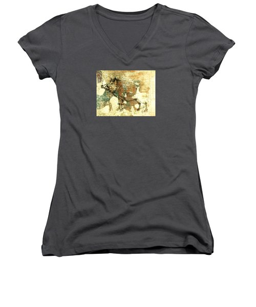 Wild Boar Cave Painting 1 Women's V-Neck T-Shirt (Junior Cut) by Larry Campbell