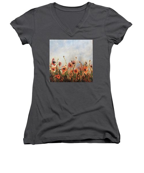 Wild Corn Poppies Underpainting Women's V-Neck (Athletic Fit)