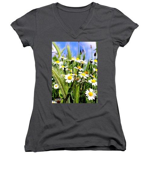 Wild Daisies Women's V-Neck T-Shirt