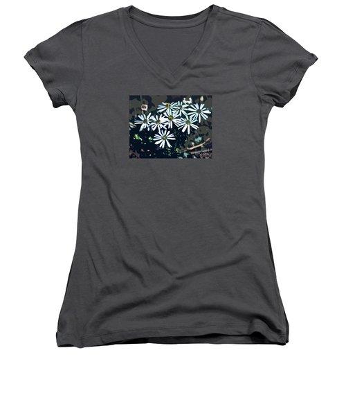 Women's V-Neck T-Shirt (Junior Cut) featuring the photograph Wild Daisy Art  by Juls Adams