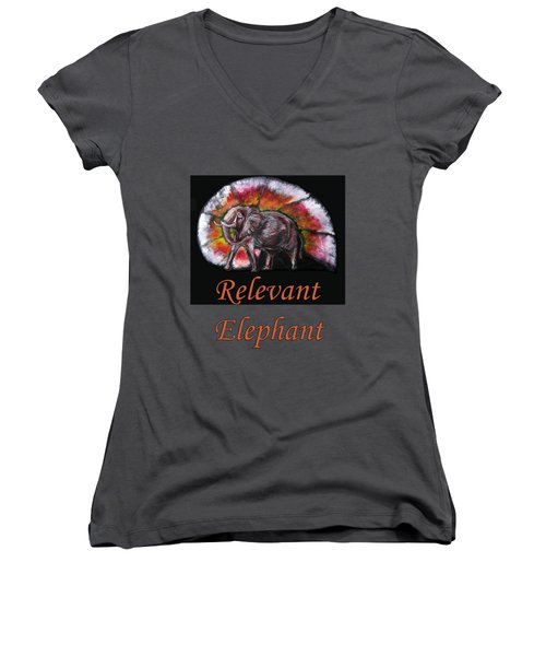 Wild Elephant Women's V-Neck T-Shirt (Junior Cut) by Tom Conway