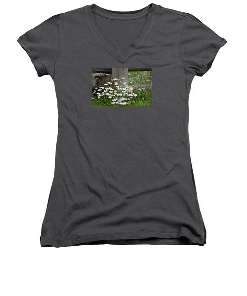 Women's V-Neck T-Shirt (Junior Cut) featuring the photograph Wild Flowers  by Juls Adams