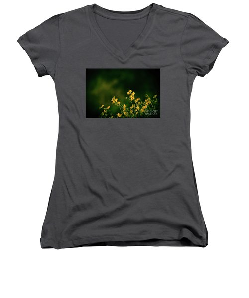 Women's V-Neck T-Shirt (Junior Cut) featuring the photograph Evening Wild Flowers by Kelly Wade