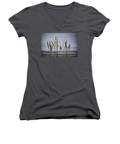 Wild Grasses Women's V-Neck T-Shirt (Junior Cut) by Judy Wolinsky