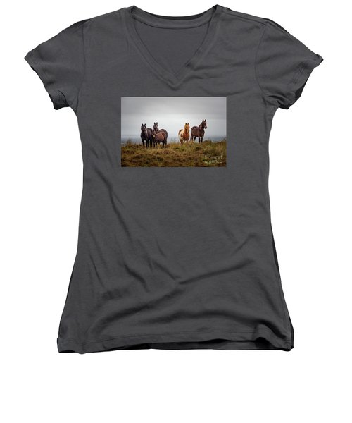 Wild Horses In Ireland Women's V-Neck (Athletic Fit)
