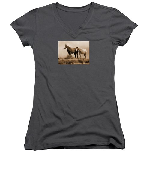 Wild Horses In Western Dakota Women's V-Neck