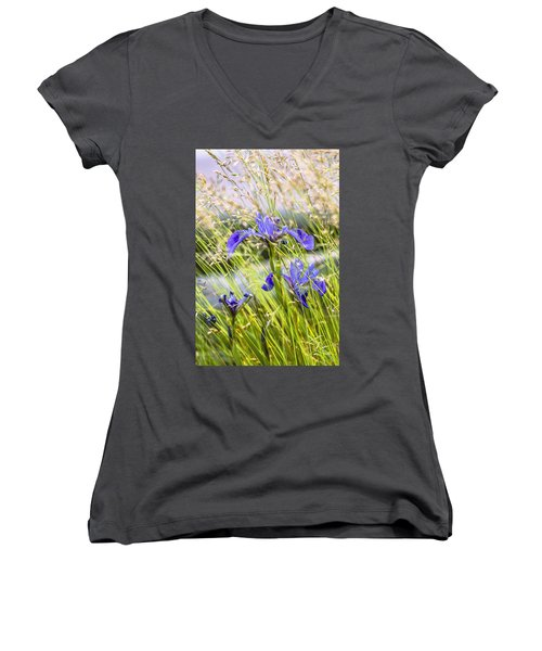 Wild Irises Women's V-Neck (Athletic Fit)