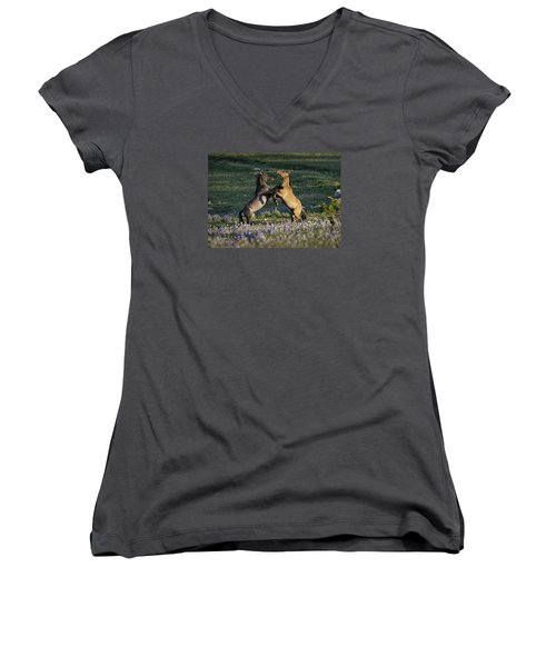 Wild Mustangs Playing 1 Women's V-Neck (Athletic Fit)