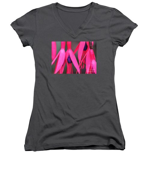 Women's V-Neck T-Shirt (Junior Cut) featuring the photograph Wild Oregon Fuchsia  by Michele Penner
