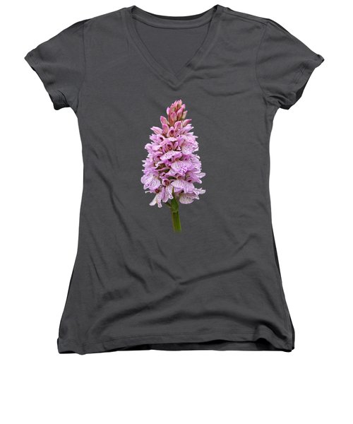 Wild Pink Spotted Orchid Women's V-Neck T-Shirt (Junior Cut) by Gill Billington