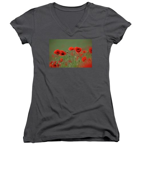 Wild Poppies Women's V-Neck