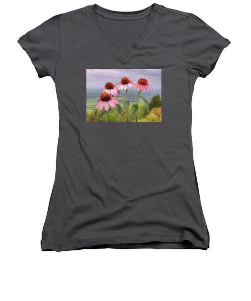 Wild Purple Coneflowers Women's V-Neck (Athletic Fit)