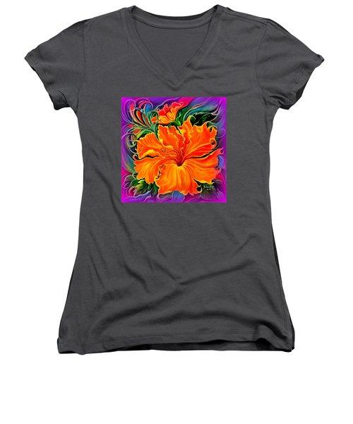Wild Purple Hibiscus Women's V-Neck T-Shirt (Junior Cut) by Yolanda Rodriguez