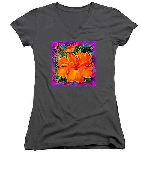 Wild Purple Hibiscus Women's V-Neck T-Shirt