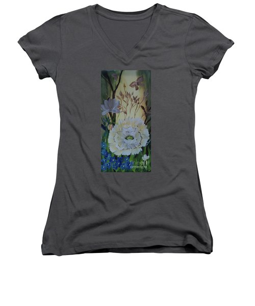 Wild Rose In The Forest Women's V-Neck T-Shirt (Junior Cut) by Donna Brown