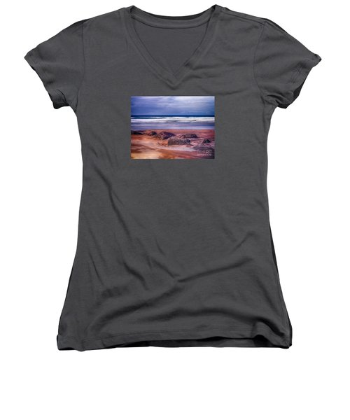 Women's V-Neck T-Shirt (Junior Cut) featuring the photograph Sand Coast by Juergen Klust
