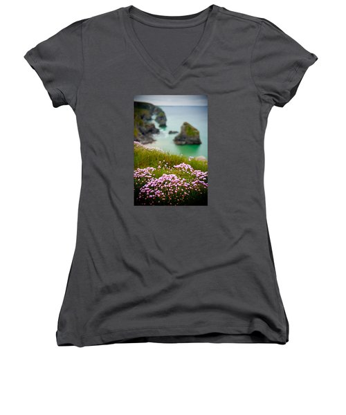 Wild Sea Pinks In Cornwall Women's V-Neck T-Shirt