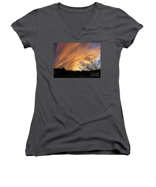 Wild Sky Of Autumn Women's V-Neck T-Shirt (Junior Cut) by Barbara Griffin