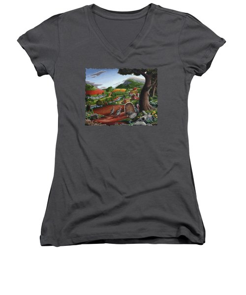 Wild Turkeys Appalachian Thanksgiving Landscape - Childhood Memories - Country Life - Americana Women's V-Neck T-Shirt (Junior Cut) by Walt Curlee