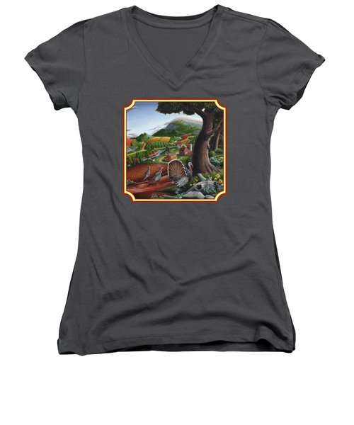Wild Turkeys In The Hills Country Landscape - Square Format Women's V-Neck T-Shirt