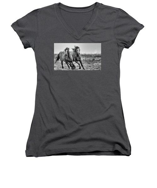 Wild West Wild Horses Women's V-Neck T-Shirt (Junior Cut) by Kelly Marquardt
