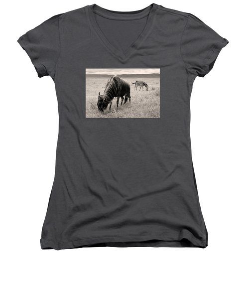 Wildebeest And Zebra Women's V-Neck (Athletic Fit)