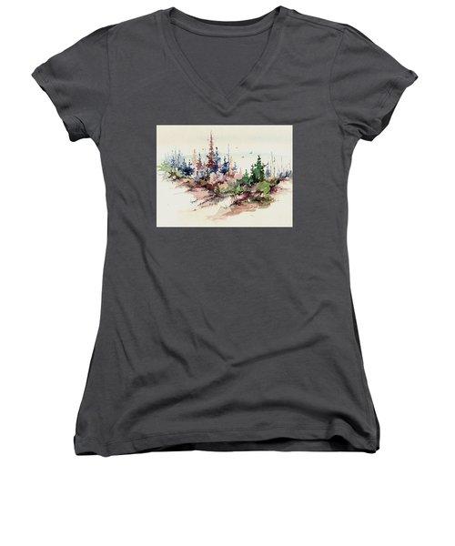 Wilderness Women's V-Neck T-Shirt (Junior Cut) by Sam Sidders