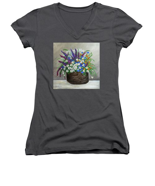Wildflower Basket Acrylic Painting A61318 Women's V-Neck