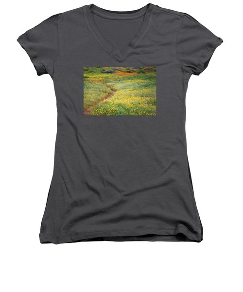 Women's V-Neck T-Shirt (Junior Cut) featuring the photograph Wildflower Field Near Diamond Lake In California by Jetson Nguyen