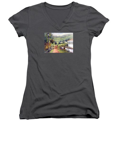 Wildflower Inn Women's V-Neck T-Shirt (Junior Cut)
