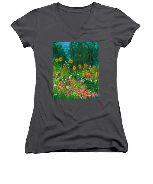 Wildflower Rush Women's V-Neck T-Shirt (Junior Cut) by Kendall Kessler