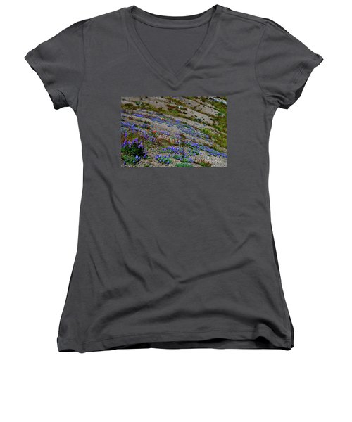 Wildflowers Women's V-Neck T-Shirt (Junior Cut) by Ansel Price