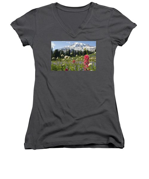 Wildflowers In Mount Rainier National Women's V-Neck T-Shirt