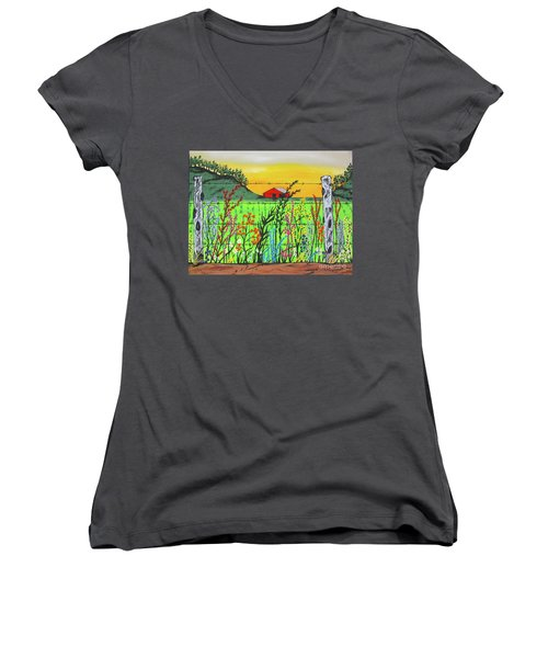 Wildflowers On The Farm Women's V-Neck (Athletic Fit)