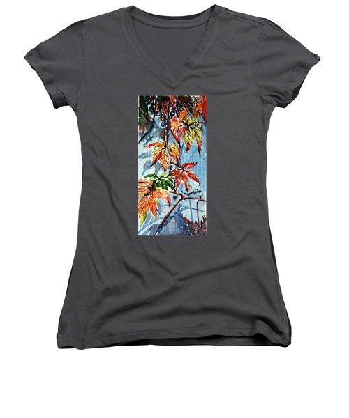 Women's V-Neck T-Shirt (Junior Cut) featuring the painting Wildgrape by Kovacs Anna Brigitta
