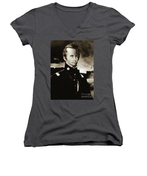 William B Travis - The Alamo Women's V-Neck T-Shirt