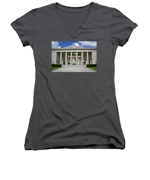 Women's V-Neck T-Shirt (Junior Cut) featuring the photograph William Mckinley Memorial 003 by George Bostian