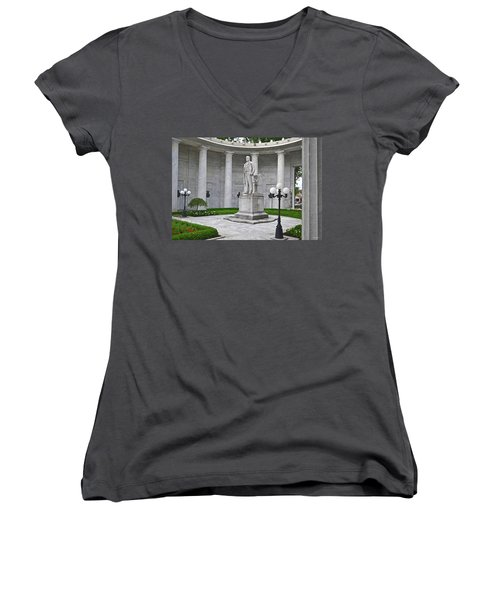 Women's V-Neck T-Shirt (Junior Cut) featuring the photograph William Mckinley Memorial 004 by George Bostian